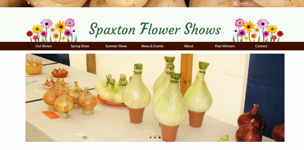 Screenshot of the new Spaxton Flower Show website
